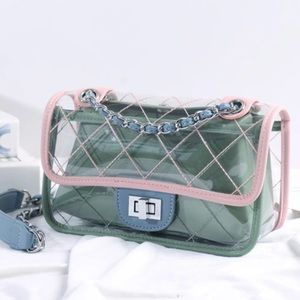Handbags - NEW CLEAR BAG Quilted with Removable Green Lining